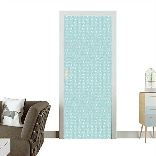 Door Sticker Wall Decals Elliptic Repeating Pattern with Oval Shapes and Dots Stylish Ornaments Sky Blue White Easy to Peel and StickW23.6 x H78.7 INCH