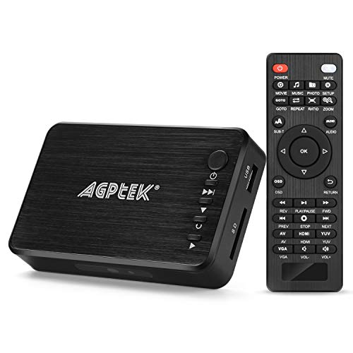 AGPTEK 1080P Media Player Read USB drive/SD card with HD HDMI/AV/VGA Output for RMVB/ MKV /JPEG etc with Remote Control