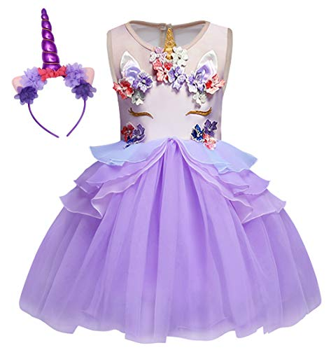 Cotrio Unicorn Costume Halloween Cosplay Princess Dress up Birthday Pageant Party Dance Outfits Evening Gowns Size 8 (140, 7-8Years, Purple)