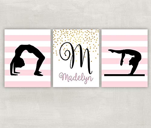 (Gymnastics Wall Art Set of 3 Prints Customizable with your Name and Stripe Color)