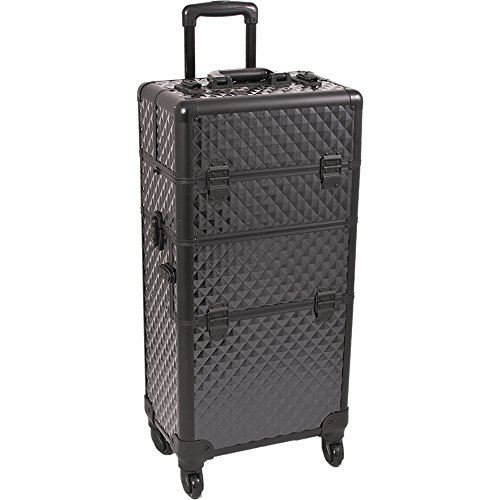 SUNRISE Makeup Case on Wheels 2 in 1 I3561 Hair Stylist Professional, 3 Trays and 1 Removable Tray, Locking with 2 Mirrors, Brush Holder and Shoulder Strap, Black Diamond
