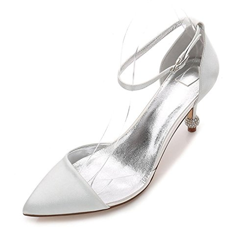Y Satén Mujer F17767 Zapatos 20 Verano Silver De Primavera L Noche Púrpura Bomba Boda Plata yc Fiesta ftvqnI