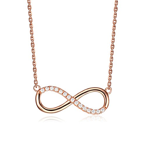 Serend Infinity Necklace Lucky Number 8 Pendant Link Chain Rose Gold-Tone,Valentines Day Gifts
