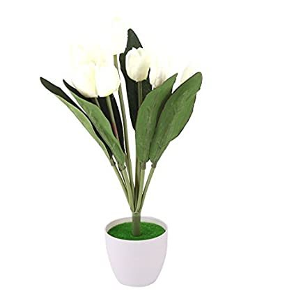eDealMax plástico dormitorio DIY del ornamento de Los tulipanes artificiales de la simulación de la Flor