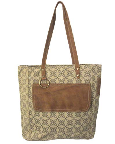 (Chloe & Lex Brown Patterned Upcycled Leather & Canvas Urban Handbag)