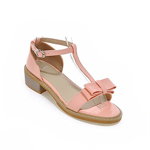 AgooLar Women's Low-Heels Solid Buckle Soft Material Open Toe Sandals Pink