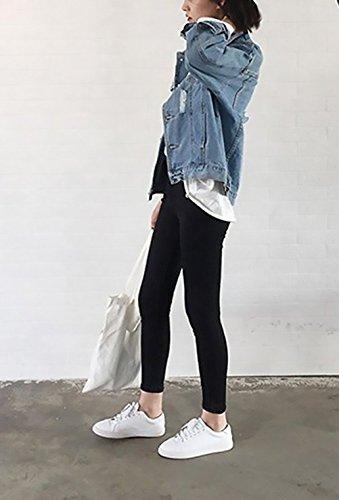 Mujer Largas Outcoat Denim Otoño Jeans Coat Agujeros Jacket Look Casual Suelto Fiesta New Moda Cuello Chaquetas Manga Abrigos Boyfriend Vaqueras Mezclilla Primavera Chaqueta Elegante Azul Azul Stand 44CwrqxZf