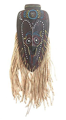 African Tribal Mask Wall Hanging Fortune & Luck Tiki God - Embellished With Stones - OMA BRAND (Peace & (God Mask)
