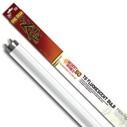 - Zilla 11968 36-Inch Desert 50 UVB T8 Fluorescent Bulb, 25-Watt