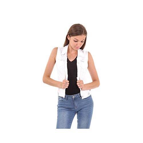 Smanicato Da Denim Giubbotto Abbigliamento Tessuto Donna Jeans In Montoro White Di Ug1waq