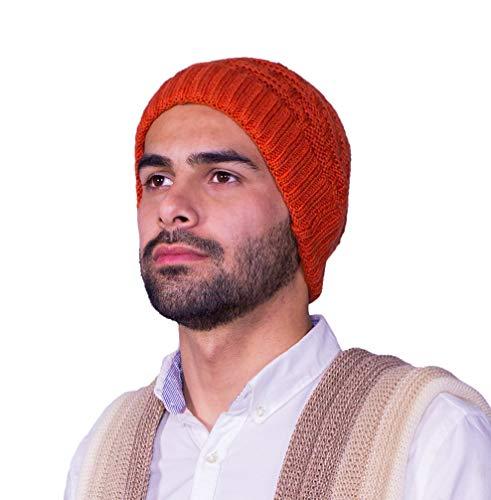 - Raymis Peruvian Hand Knit Alpaca Beanie Hat Cap Skullcap (Orange)