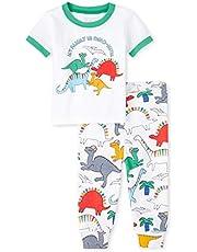 The Children's Place Baby Boys' Short Sleeve Pajama Pant Set