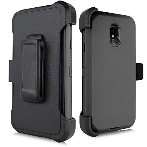 for Samsung Galaxy J7 2018 / J7 Refine / J7V 2nd Gen / J7 Star / J7 Top Case, Heavy Duty Defender Case, Belt Clip Holster w/ [Built-in Screen Protector] Shockproof Drop-Proof Cover (Black) ()