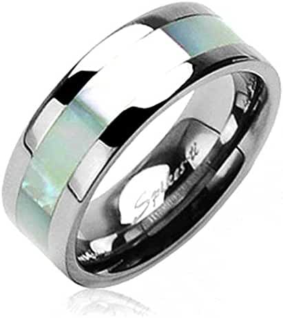 Solid Titanium with Mother of Pearl Inlayed Carbide Band Ring