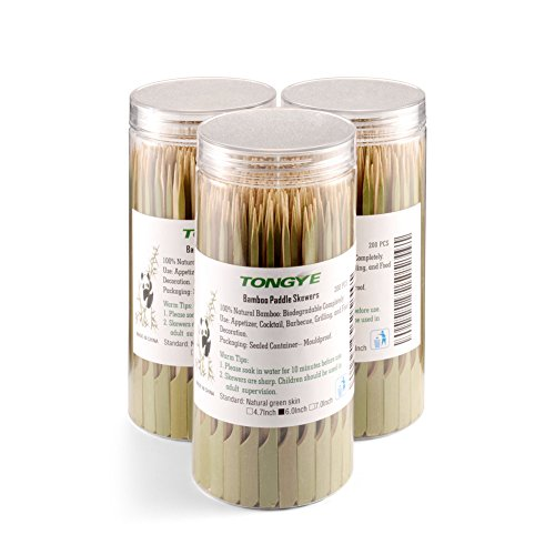 Bamboo Paddle Skewers 6 Inch with Clear Cylinder, Food Grade Cocktail Picks, Barbecue Stick. Decoration for Party Food, Appetizer, Dessert, Fruit, Sausage, Burger, Prawn, Kebab. (200PCS Green Skin) by TONGYE (Image #5)