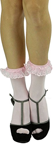 (ToBeInStyle Women's Opaque Ankle High Socks With Ruffled Lace Top - Pink)