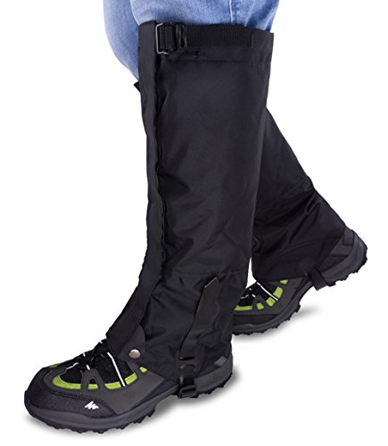 or Boots - Waterproof Hiking Climbing Hunting Snow High Leg Gaiters(Men and Women) (Black, Black-L) ()