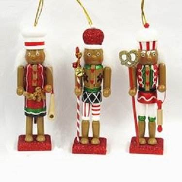 Set Of 3 6In Hollywood Gingerbread Nutcracker Ornaments