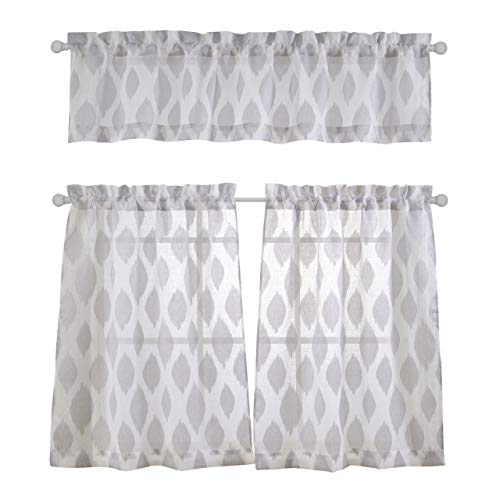 MYSKY HOME Fashion 3 Pieces Jacquard Kitchen Sheer Tier Curtains and Valance Set, Grey - Kitchen Tier Curtain