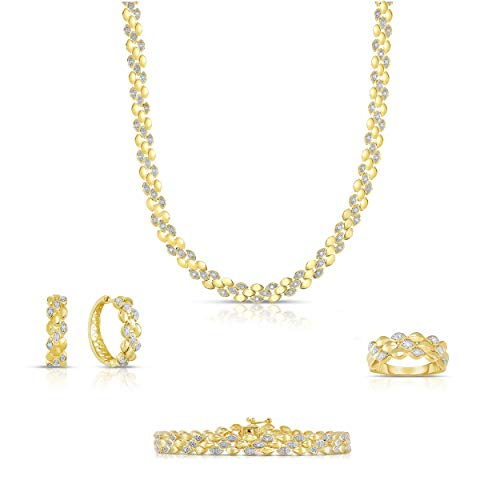 NATALIA DRAKE Sterling Silver 1.00cttw Genuine Diamond 4pc Set with Bracelet, Earring, Necklace and Ring
