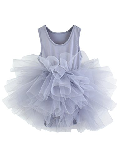Girls' Camisole Tutu Leotard With Fluffy 4-Layers Skirt Dress For Dance, Gymnastics and Ballet Gary-Blue 7-8 Years ()
