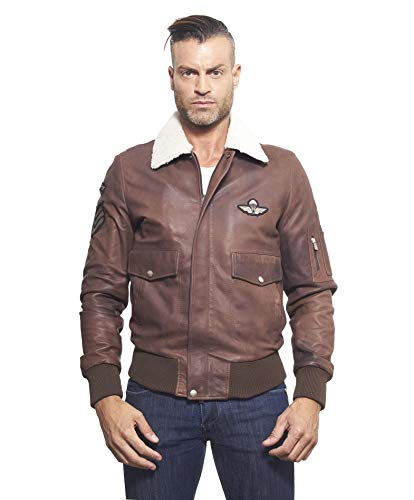 Aviator • Brown Colour • Lamb Leather Bomber Jacket Shearling Collar - 48, Brown