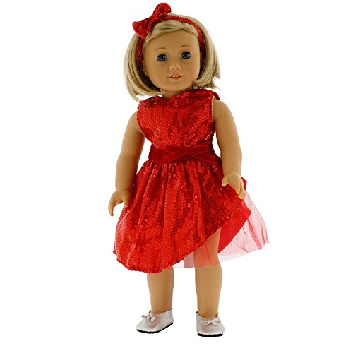Red Sparkle Dress Doll Outfit for American Girl Dolls: (Includes Dress, Shoes, Headband)
