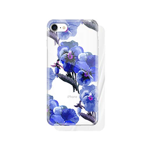 - iPhone 8 & iPhone 7 Clear case Floral, Akna Collection Flexible Silicon Cover for Both iPhone 8 & iPhone 7 [Navy Blue Floral](1234-U.S)