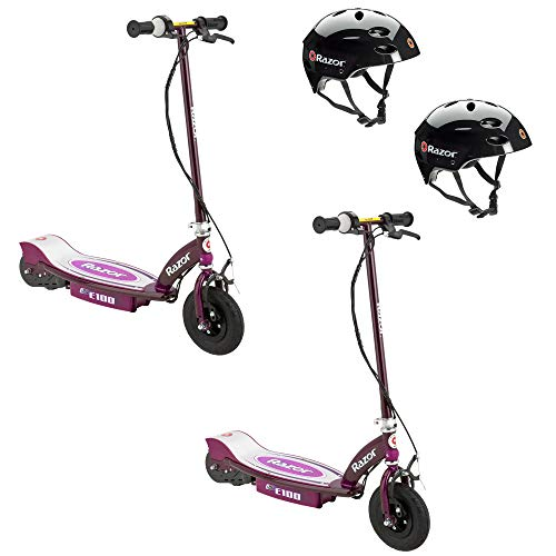 Price comparison product image Razor E100 Rechargeable Electric Motor Kids Scooters,  Purple (2 Pack) + Helmets