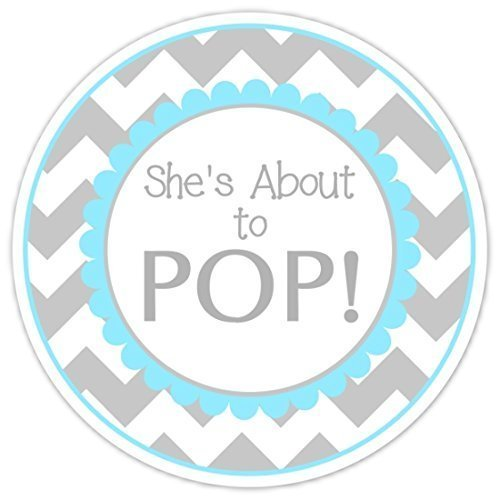 Amazon Com 36 Baby Shower Labels She S About To Pop Stickers Blue