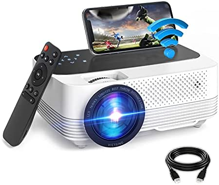 VicTsing Mini Projector, 6000L WiFi Movie Projector, 1080P Video Portable Home Theater Projector, Compatible with TV, AV, VGA, TF, USB, HDMI, SD, PS4