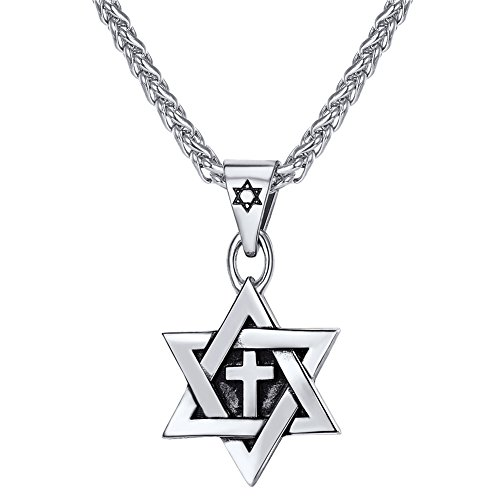 - U7 Men Boys Cross Star of David Pendant with 22 Inch Rope Chain Stainless Steel Vintage Enamel Black Jewish Jewelry Israel Necklace