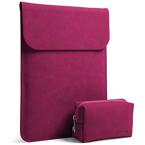 HYZUO 13 Inch Laptop Sleeve Water Resistant Case Compatible with New MacBook Pro Retina 2016-2018 13.3 Inch/Dell XPS 13 with Carrying Bag, Faux Suede ()