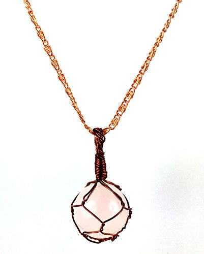 Healing Crystal Heart Ring (M'VIR Rose Quartz Copper Wire Wrapped Round Pendant Necklace Healing Yoga)