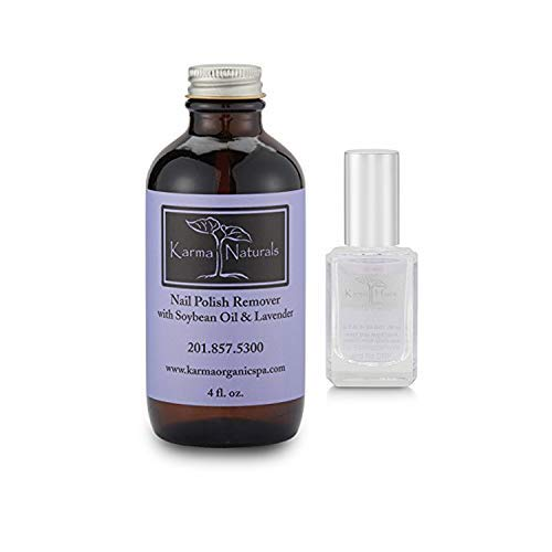 Karma Organic Natural Soybean Lavender Nail Polish Remover with Two in One Base Coat/Top Coat for Women- Non-Toxic Nail Treatment Vegan Cruelty-Free