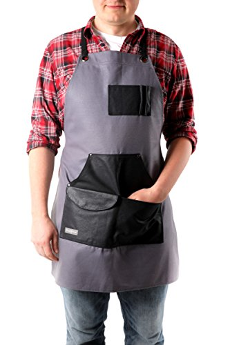 Gray Bear Waxed Canvas Work Apron | Utility Work Coverall...
