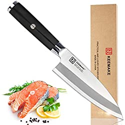 "Deba Knife, KEEMAKE 6.5"" Fish Fillet Chef's Knife Professional Japanese Kitchen Knife - Heavy Butcher - Single Bevel With G10 Handle"