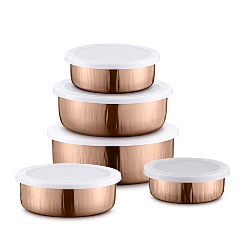 JENSONS Stainless Steel Bowl Set   5 Pieces, Copper