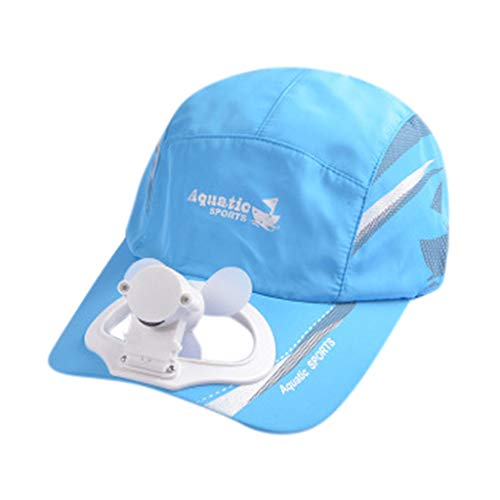 Weiliru Unisex Camping Hiking Peaked Cap with USB Charge Powered Fan Baseball Hat]()