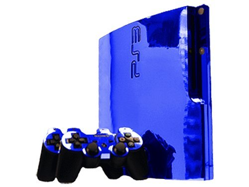 (Sony PlayStation 3 Slim Skin (PS3 Slim) - NEW - BLUE CHROME MIRROR system skins faceplate decal mod)