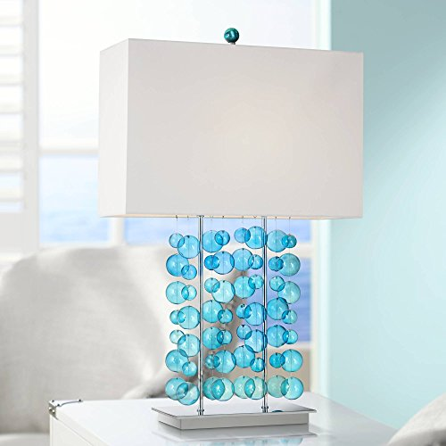 Modern Table Lamp Blue Bubble Cascade Glass Chrome Bright White Box Shade for Living Room Bedroom Bedside Nightstand Office Family - Possini Euro Design (Designs Whimsy Lamps)