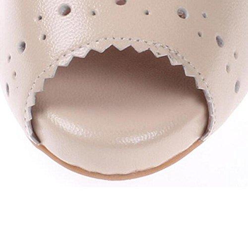 Mr. LQ - Sandalias de tacón alto de la boca de la piscina del cuero genuino de la manera de la primavera de las mujeres Nude