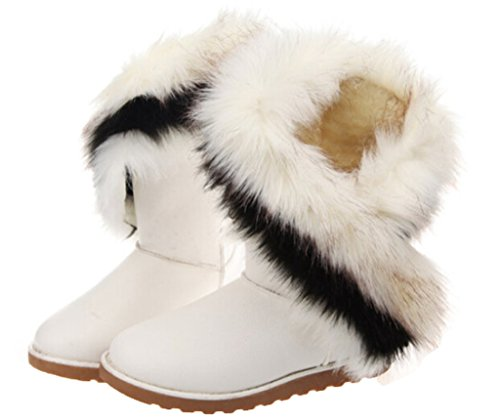 Leather Suede Womens Shoes (Womens Winter Suede (leather) Snow Ankle Boots Faux Fur Flat)