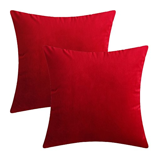 Luxury Velvet Silk Throw Pillow Covers Decorative Pillowcases Cushion Cover Soft & Smooth Solid Various Choices 22 Colors (Red-R16, 16 x 16 (Set of 2)) ()