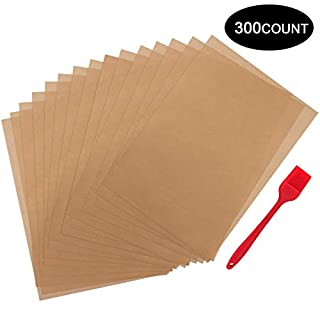 """300 Pcs Parchment Paper Sheets, OAMCEG 12x16"""" No Chemical Non-Stick Unbleached Precut Parchment Paper with a Silicone Brush for Baking Grilling Air Fryer Steaming Bread Cup Cake Cookie and More"""