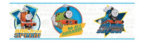 York Wallcoverings BT2903BD Thomas The Train Border, Pale Gray/Electric Blue/Stop Sign Red/Tangerine Orange/Lime Green/Black (Thomas The Train Border)