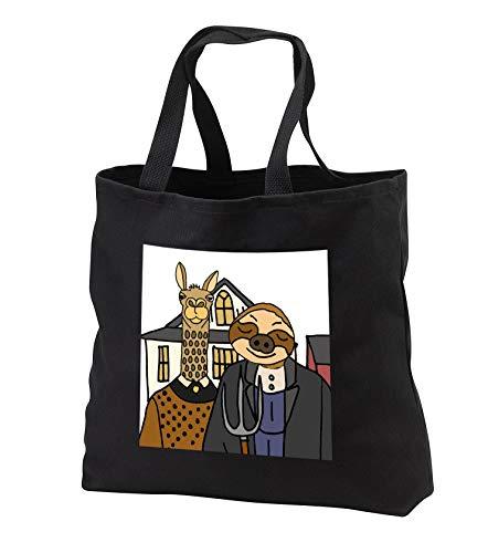 All Smiles Art - Animals - Cool Funny Sloth and Llama American Gothic Farmers Art - Tote Bags - Black Tote Bag JUMBO 20w x 15h x 5d (tb_308354_3)