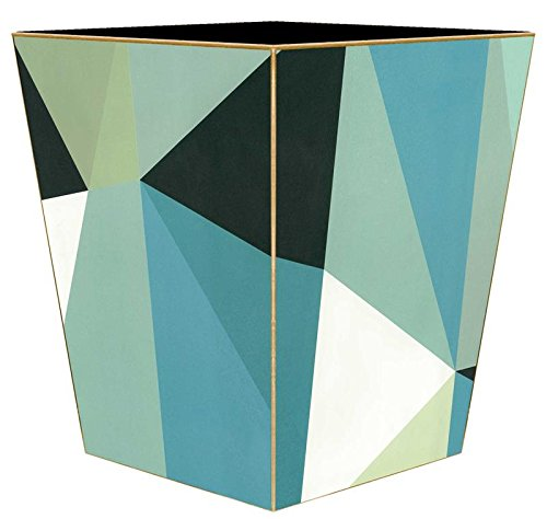 Kelly Trash Can Garbage Can Bin Wastebasket Bathroom Decor Wooden Decorative Blue Geometric