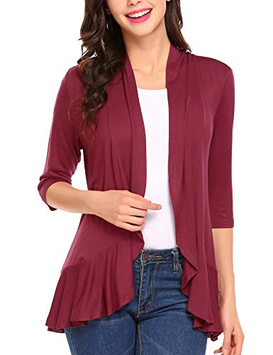 Zeagoo Women's Open Front 3/4 Sleeve Draped Ruffles Knit Cardigan, Wine Red, Medium
