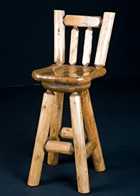 Viking Log Furniture Bar Stool 24 Saddle Seat with Back and Swivel - Honey Pine Finish